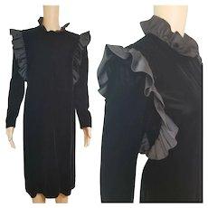 ICONIC Vintage 1980s BILL BLASS / I. Magnin black velvet Avant Garde Dress