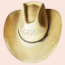 """Vintage 1980s """"URBAN COWBOY"""" era Straw Stetson-Roadrunner Cowboy Hat"""