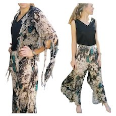 "NWT $850 DIANE FREIS Deadstock Silk ""1980s Thriller"" vintage Palazzo Pants/Jacket"