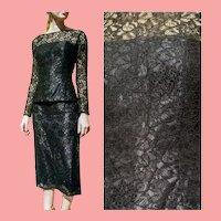 Vintage DEADSTOCK $2500 DIANE FREIS Black Lace Skirt/Top 2pc Dress
