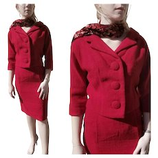 Vintage 1960s FORSTMANN Red Wool Mod Jacket/Skirt SUIT