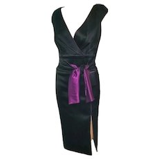 "ULTIMATE ""Studio 54 Disco Diva"" Vintage 1970s TADASHI Satin Slit-Skirt Dress"