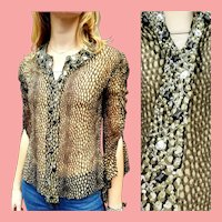 NWT Deadstock $699 Vintage DIANE FREIS Silk Chiffon Beaded Blouse/Top