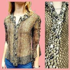 NWT Deadstock $699 Vintage DIANE FREIS Silk Chiffon Beaded Blouse/Top
