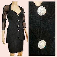 ICONIC Vintage 1980s TADASHI Power/Cocktail Skirt Suit Dress