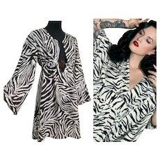 Vintage DIANE Von FURSTENBERG Zebra Stripe Kaftan Dress - Rare, Italian made