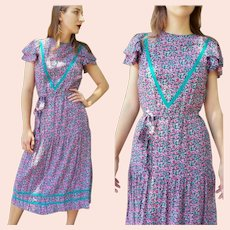 Vintage 1980s JANE SCHAFFHAUSEN Belle France drop-waist Midi peasant Dress