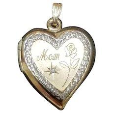 "Vintage 1970s 14KT GOLD Heart ""Mom"" Locket Pendant"