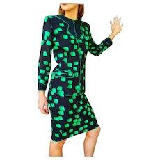 Vintage 1980s $600 Aurora RUFFOLO NYC glam Skirt/Jacket Suit