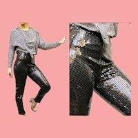"""Vintage 1970s """"Studio 54"""" Black Sequin SKINNY Pants Leggings"""