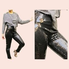 "Vintage 1970s ""Studio 54"" Black Sequin SKINNY Pants Leggings"