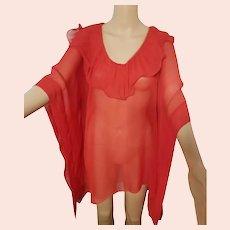 DEADSTOCK $250 DIANE FREIS Vintage 1990s Red kimono tunic Boho Top
