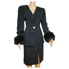 Vintage BILL BLASS Black Wool/Mink Fur Cuffs Skirt Suit