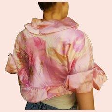 DEADSTOCK $250 DIANE FREIS Vintage 1990s Pink Silk floral crop Bolero Jacket