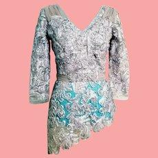 DEADSTOCK $450 DIANE FREIS Vintage 1990s Silver Ribbon/Rhinestone blouse top