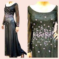 """DEADSTOCK $2950 DIANE FREIS Vintage 1990s """"Renaissance Revival"""" Maxi Column Dress"""