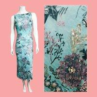 DEADSTOCK $875 Vintage 1990s DIANE FREIS Heavily Hand-Beaded Column Dress