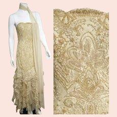 Deadstock $5800 Vintage 1990s DIANE FREIS Lace Goth Dress