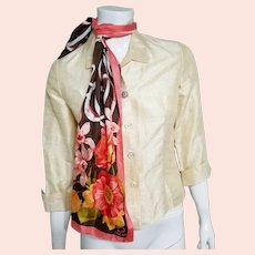 Vintage 1960s RAW SILK Blouse/Top with OSCAR de la RENTA Silk Scarf