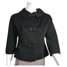 Vintage 1960s Made-To-Measure HONG KONG Mod Black Wool Jacket