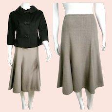 Vintage ESCADA Black Label 1990s Silk/Wool Midi Skirt
