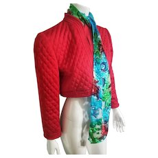 Vintage VICTOR COSTA 1980s Red Quilted Crop Jacket