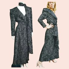 Deadstock  $595 Vintage DIANE FREIS 1980s Black & Silver Boho Dress