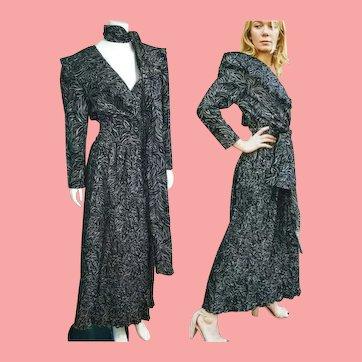 Deadstock  $595 Vintage DIANE FREIS 1980s Black & Silver Boho Dress