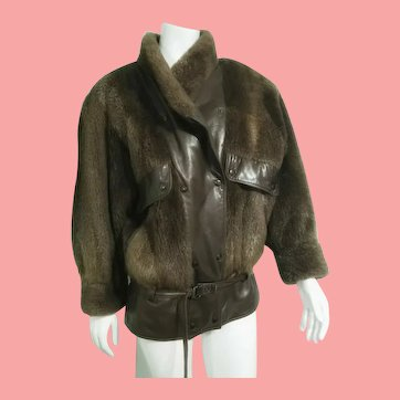 1980s Vintage $2k Beaver Fur & Leather avant garde Coat Jacket