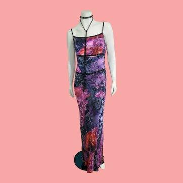 "DEADSTOCK $4250 DIANE FREIS Vintage 1990s does 1930s Silk ""Art Deco"" Dress"