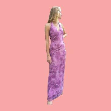 DEADSTOCK Vintage 1990s DIANE FREIS Beaded Halter maxi Dress