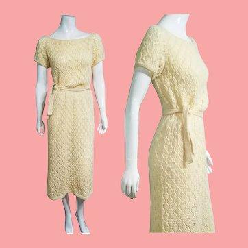 "Vintage 1940s ""Big Band era"" CROCHET Cream Knit Bombshell Dress"