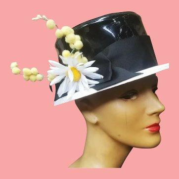 Vintage FRANK OLIVE Patent Leather MOD Bucket Hat