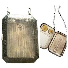 "ART DECO era Authentic ""1920s Flapper"" Silver Plate COMPACT Hand Bag/Purse"