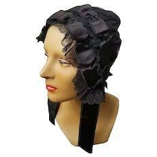 Authentic VICTORIAN antique 1800s Civil War MOURNING Bonnet/Hat