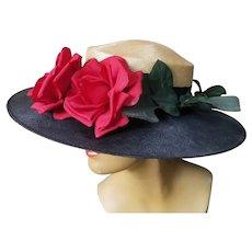Vintage 1940s WWII  era Film Noir STRAW Fashion Hat