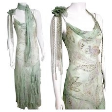 "DEADSTOCK $5500 DIANE FREIS Vintage 1990s Beaded Silk ""Flapper"" Dress"