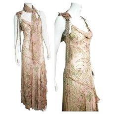 "DEADSTOCK $5500 DIANE FREIS Vintage 1990s Beaded Silk ""Flapper"" Dress"