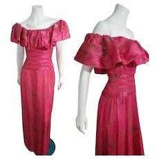 "Vintage 1980s ""Dynasty Glam"" MORTON MYLES Silk Maxi Dress"