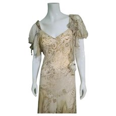 "DEADSTOCK $700 DIANE FREIS Vintage ""Boho Flapper"" Silk Chiffon Dress"