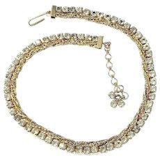 Vintage 1950s HATTIE CARNEGIE Goldtone Rope RHINESTONE Choker Necklace
