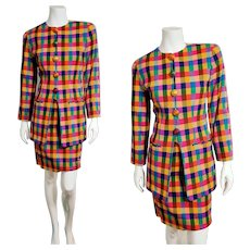 Vintage EMANUEL UNGARO 1990s Bold Plaid Skirt Suit