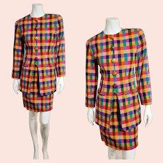 Vintage EMANUEL UNGARO 1990s Bold Plaid Skirt Suit