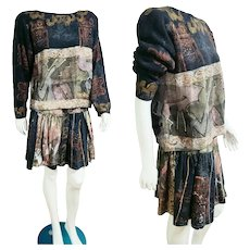 Vintage 1990s V C TORIAS Wearable Art hand painted Sweater/Skirt