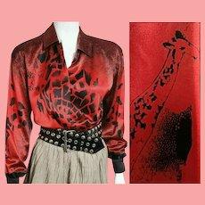 "Iconic Vintage ESCADA W. 1980s Germany  ""GIRAFFE"" Silk Blouse/Top"