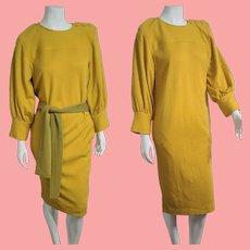Vintage 1980s YSL Yves Saint Laurent Rive Gauche gold wool Dress