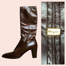 Vintage 1970s SALVATORE FERRAGAMO Knee High Leather Boots