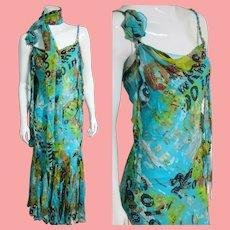 """Deadstock NWT $4950 DIANE FREIS Silk """"Boho Fringe & Graffiti"""" Beaded Dress"""