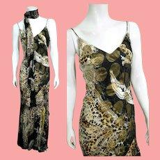 NOS Vintage DIANE FREIS $630 Silk Beaded Boho Maxi Dress