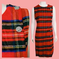Vintage 1960s SCOTTISH Scotland CASHMERE Tartan Plaid KILT Jumper Dress